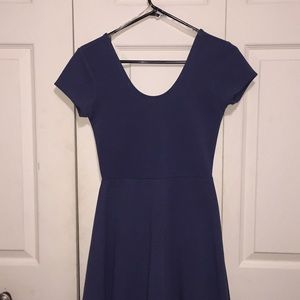 dark blue shirt sleeved dress